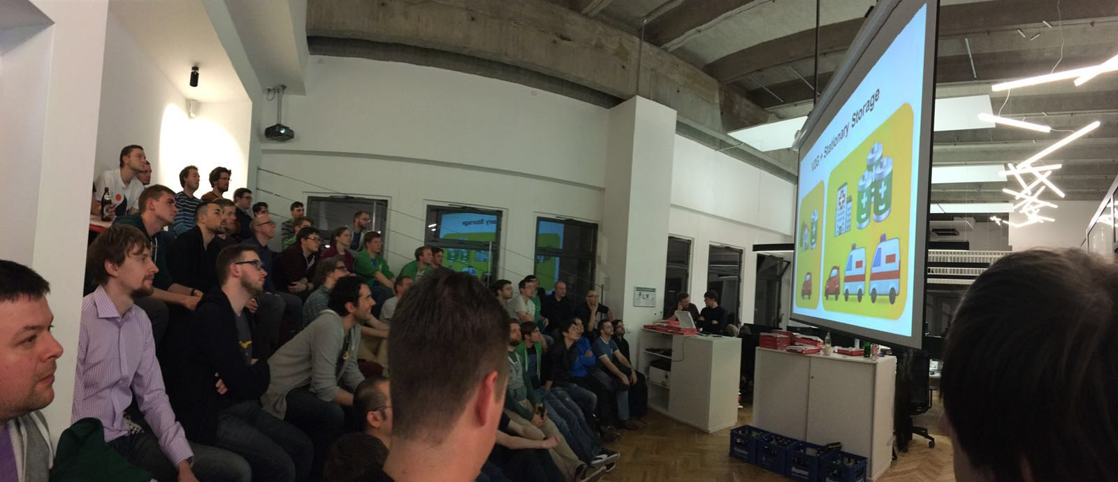 The Berlin Golang meetup audience getting the short-story.